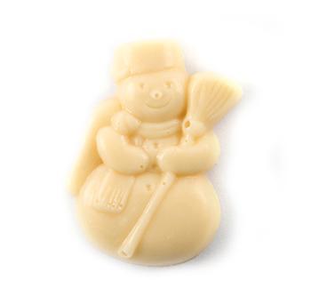 Sneeuwman in volle witte chocolade