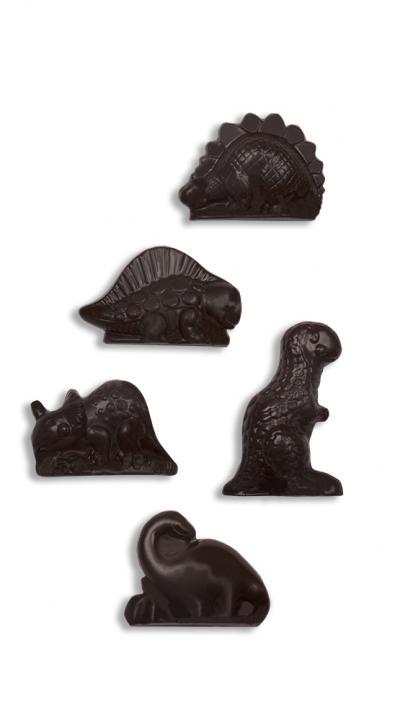 Dinosaurusfiguurtjes in volle chocolade - caraque