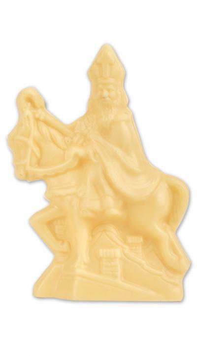 Sinterklaas op paard in witte chocolade
