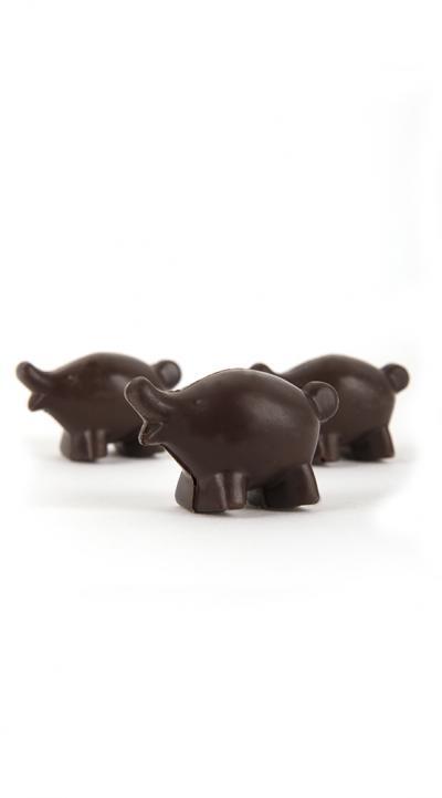 Kleine varkentjes in holhoet fondant chocolade